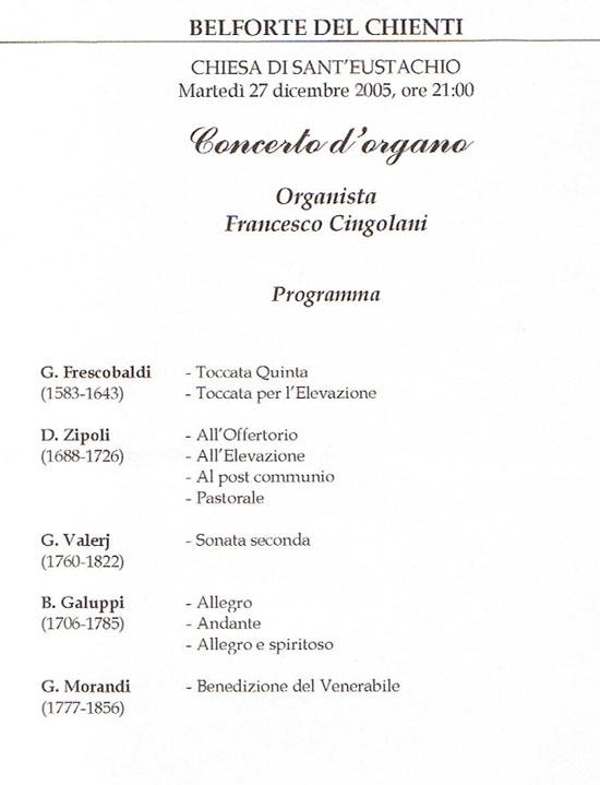 Concerti D'Organo Francesco Cingolani - belforte
