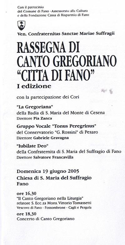 """Rassegna di Canto Gregoriano """"Citta di Fano"""""""